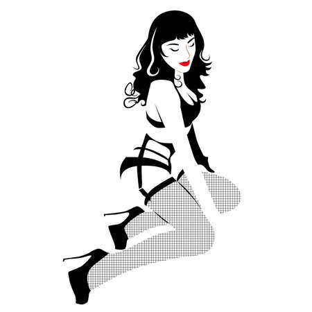 tennager: Fashion outline girl Illustration