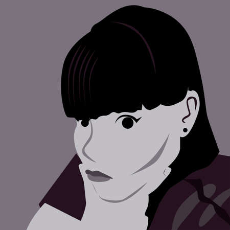 Black and white girl Vector