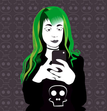 green hair: Girl with green hair and smartphone