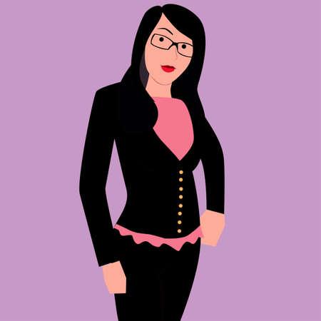 robe noire: Fille en robe noire Illustration