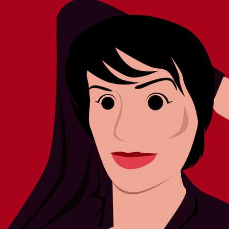 red lipstick: Woman wiht red lipstick