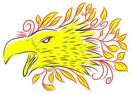 yelllow: Abstract illustration of falcon with yellow leaves