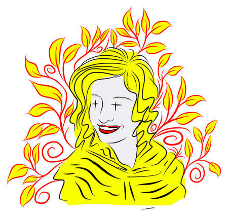 yelllow: Abstract illustration of girl with yellow leaves