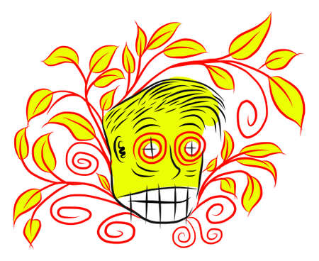 yelllow: Abstract illustration of head with yellow leaves Illustration