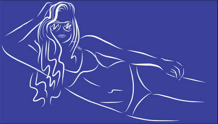 tennager: Outline blue girl Illustration