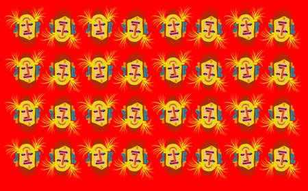 ar: Tribal cartoon face texture Illustration