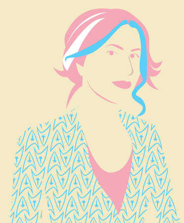 Pink and light blue girl face vector Ilustracja