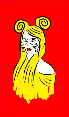 Artistic yellow girl with red background Ilustracja