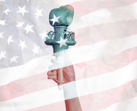 Hand of Liberty with flag background photo