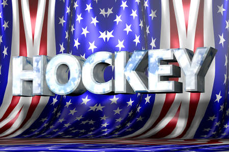 Hockey 3D text with flag background photo