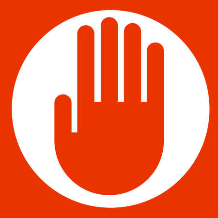 red hand: Red hand on circle
