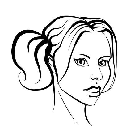 cola mujer: Retrato de mujer de tinta