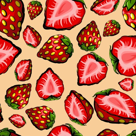 chaotic: Seamless chaotic strawberry pattern Illustration