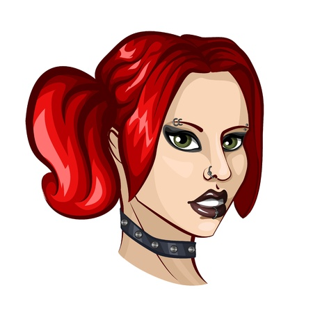Portrait of young pierced woman punk with red hair Stock Vector - 18984820