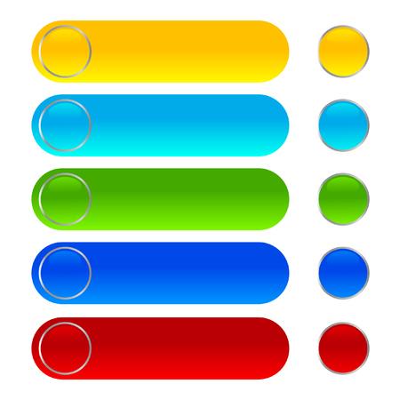 Glänzende Web-Schaltflächen mit verschiedenen Farbsymbolen Vektorgrafik