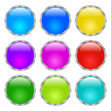 Round buttons. Shiny Web icon with metallic frame. Isolated on white background. Raster vector version