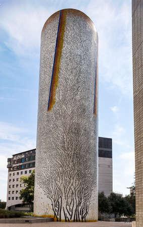 arbres: PARIS, FRANCE - AUGUST 27, 2016: La Defense, Les Trois arbres, The three trees, mosaic by Grataloup 1988