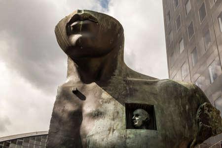 igor: PARIS, FRANCE - AUGUST 29, 2016: Le Grand Toscano, The Great Toscano, Sculpture by Igor Mitoraj 1983. La Defense: open-air museum