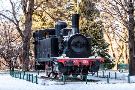 naphtha: COMO, COMO LAKE - ITALY - January 13, 2017: Vintage Locomotive 851 model, serial number 186, able to use both coal naphtha, 1909. Placed in the park by the lake.