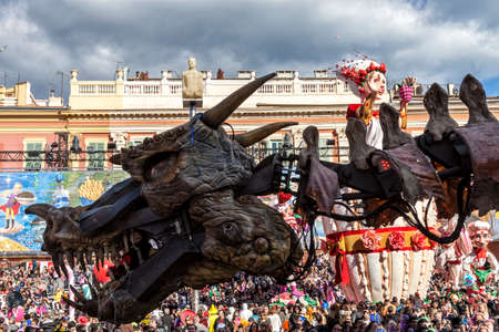 NICE - FRANCE - March 03, 2014: King of carnival 2014. The theme of Nice carnival is the gastronomy. A dragon Editorial