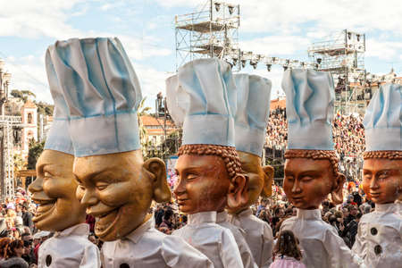 NICE - FRANCE - March 03, 2014: King of carnival 2014. The theme of Nice carnival is the gastronomy. A parade of cooks