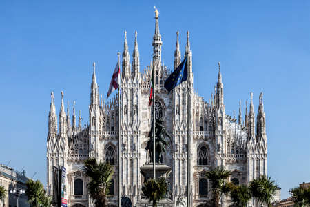 MILAN, ITALY - February 20, 2017: Marco Bay project for installation of Milan Garden of the twentieth and twenty-first century in Piazza Duomo in front of the Gothic Cathedral. Many controversies  including also political representatives