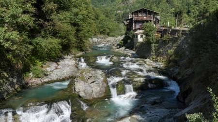 Sesia river in Alagna. Valsesia Italy