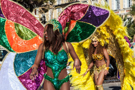 NICE - FRANCE - March 01, 2014: Carnival of Nice, Flowers battle. Samba dancers
