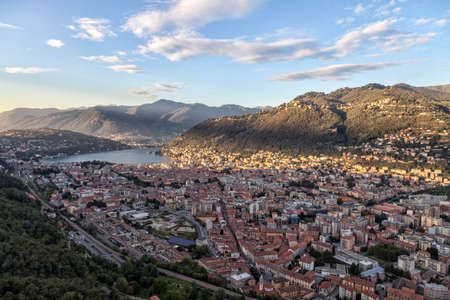 Panoramic view of the city of Como from the Baradello Castle. Como Lake. Italy