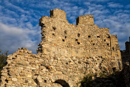 Medieval wall of the Baradello Castle, Erected in 1159 by Barbarossa. Como Lake. Italy
