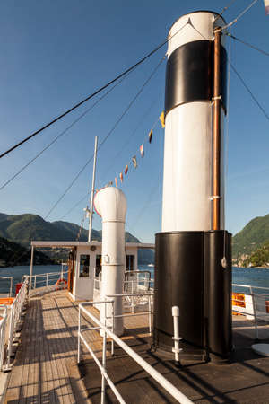 Funnel on old passenger ship, in Italy. Como Lake