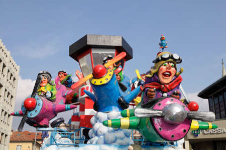 CANTU - ITALY - February 11, 2018: Allegorical float of traditional carnival. The aviators. Carnival of COMO LAKE