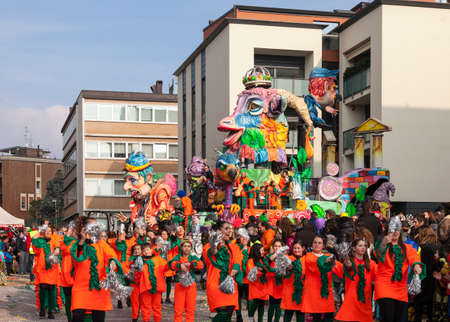 CANTU - ITALY - February 11, 2018: Allegorical float of traditional carnival. Amici di Fecchio. Carnival of COMO LAKE