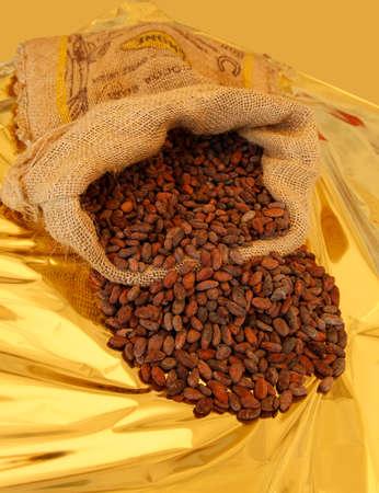 Fèves de cacao dans un sac en jute Banque d'images - 97273791