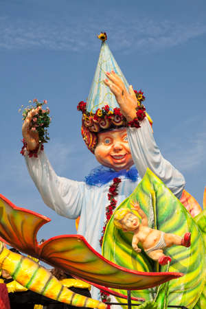 CANTU - ITALY - February 11, 2018: Allegorical float of traditional carnival. The Nature. Carnival of COMO LAKE