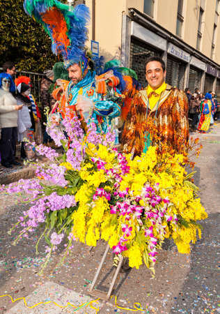 CANTU - ITALY - February 11, 2018: Traditional carnival. Flowers. Carnival of COMO LAKE Éditoriale