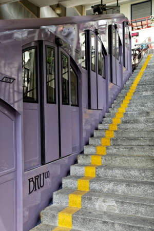BRUNATE, COMO LAKE - ITALY - June 18, 2016: The Como Brunate funicular railway connects the city of Como with the village of Brunate