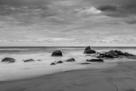 on the black sea: Rocky beach mist