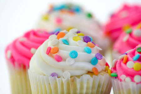 Close up of cupcakes on a white background
