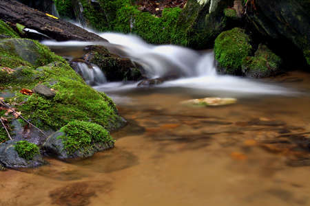 fortifying: Small water fall with moss covered rocks. Stock Photo