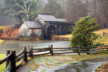 grist mill: Mabrys Mill in Virginia along the Blue Ridge Parkway on a rainy day. Stock Photo