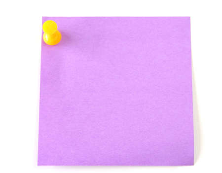 thumb tack: A purple post it with a yellow thumb tack isolated on a white background.