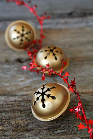 Jingle bells and red star ribbon Stock Photo - 3129124