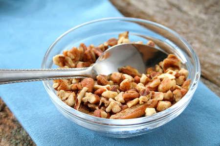 A bowl of chopped walnuts.
