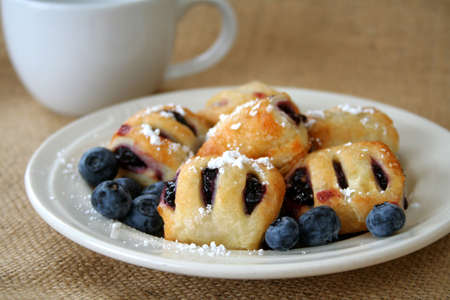 Blueberry mini bites with powder sugar and fresh blueberries. photo