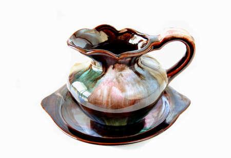wash basin: antique style wash basin and jug isolated on a white background. Stock Photo