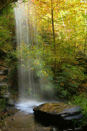 side view of waterfall with fall colors