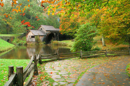 Mabrys Mill during fall of the year along the Blue Ridge Parkway in Virginia.