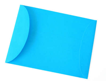 A blue envelope isolated on a white background photo