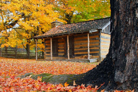 An old cabin in Virginia at the Grayson Highlands state park during fall of the year.
